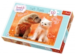 TREFL PUZZLE 100 - SWEET AND LOVE - CAŁUSY KOTEK I PIES